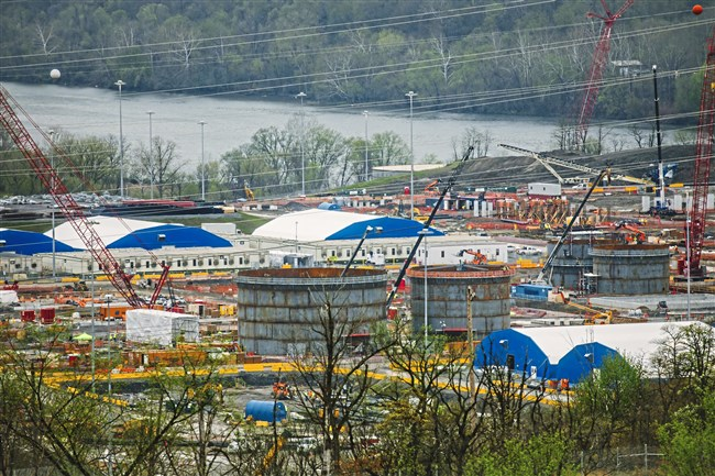 In a photo taken earlier this month, construction continues on Royal Dutch Shell's petrochemical plant in Potter Township.