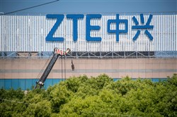This file photo taken May 3, 2018, shows the ZTE logo on an office building in Shanghai.