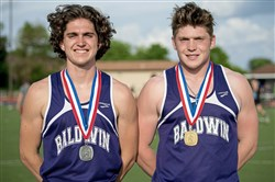 Twin brothers Brendan O'Malley, left, and Bailey O'Malley brought home silver and gold medals from the WPIAL track championships.