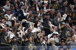 Vegas Golden Knights fans cheer after a pair of saves by Marc-Andre Fleury during Game 3 of the Western Conference final against Winnipeg.
