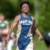 Shady Side Academy's Dino Tomlin finished second in the 100-meter dash at the WPIAL championships, but his speed on the football field is what is attracting college offers.