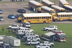 The campus of the Santa Fe, Texas, high school as law enforcement responds to a shooting there.