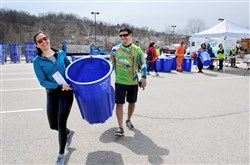 At the Pennsylvania Resources Council's recycling bin giveaway in Lawrenceville April 21. Some 800 bins left the lot.