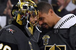 Marc-Andre Fleury and Ryan Reaves after Game 3 of the Western Conference final Wednesday.