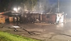 Firefighters remained on the scene of a fire at Chubboy's Bar in Dawson, Fayette County for several hours Friday morning.