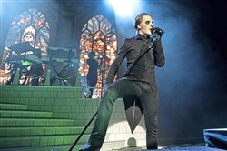 Cardinal Copia (Tobias Forge) performs with Ghost at the Benedum Center for the Performing Arts Friday.