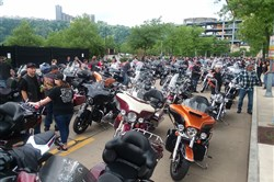 Bike are lined up on the North Shore for the Pittsburgh Blue Knights' annual Bridge Run on Sunday.