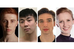 Four more dancers from the Pittsburgh Ballet Theatre School will join the company next season, Pittsburgh Ballet Theatre announced Monday, May 21, 2018. The dancers are, from left, Jonathan Breight, Yu-Chieh Chao, Colin McCaslin and Caitlyn Mendicino. These latest additions raise the total of new dancers recruited for 2018-19 from the PBT School's pre-professional division to six.