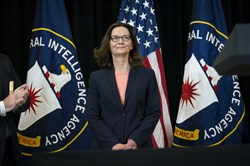 Incoming CIA Director Gina Haspel during a swearing-in ceremony at the CIA headquarters in Langley, Va. on Monday.