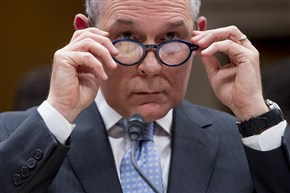 In this May 16, 2018, file photo, Environmental Protection Agency Administrator Scott Pruitt appears before a Senate Appropriations subcommittee on Capitol Hill in Washington.