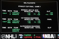 The betting line for Game One of the Stanley Cup Final shows the Vegas Golden Knights favored over the Washington Capitals at the Race & Sports SuperBook at the Westgate Las Vegas Resort & Casino on May 23, 2018, in Las Vegas.