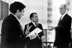 Richard Goodwin, at far left, on Jan. 12, 1966, as President Lyndon Johnson prepares for his State of the Union address. Presidential aide Jack Valenti is in the center.