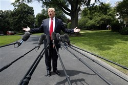 President Donald Trump gestures while speaking to the media before boarding the Marine One helicopter on the South Lawn of the White House in Washington on May 23, 2018, en route to a day trip to New York City.
