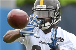 Receiver Antonio Brown pulls in a pass during organized team activities at the Steelers' UPMC Rooney Sports Complex Wednesday on the South Side.