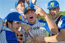 Canon-McMillan's Brandon Kline reacts with his teammates after beating Central Catholic, 8-5, in the WPIAL Class 6A semifinals Wednesday at Boyce Mayview Park.