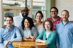 The team at new bistro/beer hall Lorelei to open in early summer in East Liberty. From left: wine director Max Stein, bartender Cecil Usher, chef Jamilka Borges, chef Dianne DeStefano, bartender Lizzie Fistel, and co-owners Pete Kurzweg and Adam Henry.