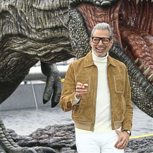 "Jeff Goldblum poses for photographers upon arrival at a photo call of ""Jurassic World: Fallen Kingdom,"" by Tower Bridge in central London in May 2018."