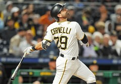 Francisco Cervelli watches a flyball he hit during a game at PNC Park against the Los Angeles Dodgers in early June.