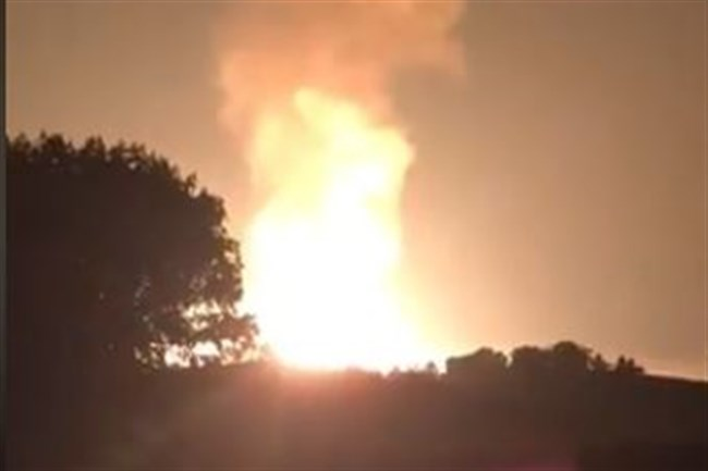 A view of the pipeline explosion in Moundsville, W.Va.