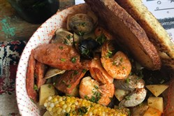 The seafood boil at Merchant Oyster Co. in Lawrenceville.