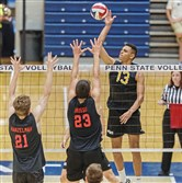 North Allegheny's Jake Barber, a senior outside hitter, goes up for a kill against Landisville Hempfield during the PIAA championship Saturday.