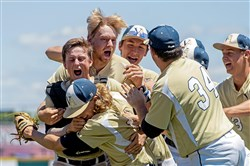Vincentian celebrates its 5-3 win against Southern Fulton in the PIAA Class 1A baseball championship Friday.