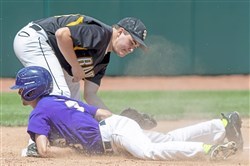 Lancaster Catholic's Rigo Hernandez slides into third to beat South Side Beaver's Marshal Windsor tag Friday.