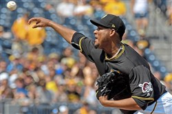 Pirates pitcher Ivan Nova pitches against the Reds in the first inning Saturday, June 16, 2018 at PNC Park.