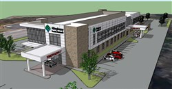 Some preliminary design renderings of a mini-hospital Allegheny Health Network plans to build in Brentwood.