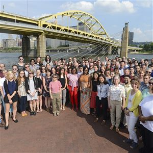 The staff of the Post-Gazette gathers for a group photo on Monday.