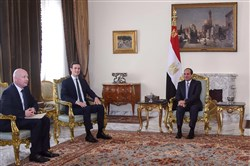 A handout picture released by the Egyptian Presidency on June 21, 2018, shows Egyptian President Abdel Fattah el-Sissi (R) meeting with President Donald Trump's special envoy Jason Greenblatt (L) and adviser Jared Kushner (2nd-L) at the presidential palace in the capital Cairo.