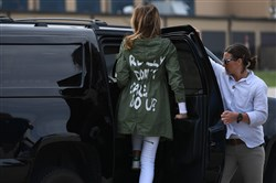 "First lady Melania Trump departs Andrews Air Force Base in Maryland on June 21, 2018, wearing a jacket emblazoned with the words ""I really don't care, do u?"" following her surprise visit with child migrants on the US-Mexico border."