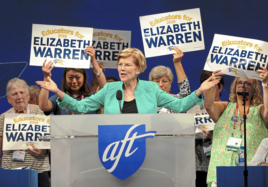 U.S. Senator Elizabeth Warren speaks to the American Federation of Teachers biennial convention at the David L. Lawrence Convention Center Saturday, July 14, 2018 in Pittsburgh.