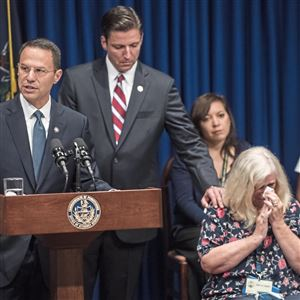 Attorney General Josh Shapiro speaks at a press conference for the release of the long-anticipated grand jury report on seven decades of sexual abuse and cover-up in six Pennsylvania Catholic dioceses, Tuesday, Aug. 14, 2018, in the State Capitol Building in Harrisburg.