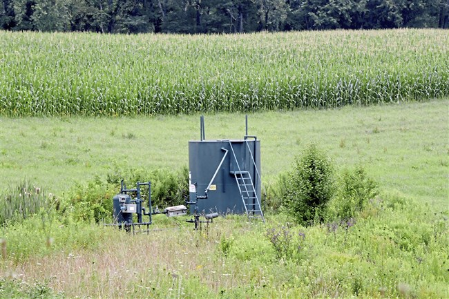 A view of the Margaret Hamilton 4 Well near a field of corn in Plum and owned by Diversified Gas & Oil.