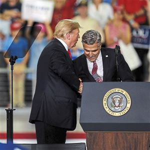 Senate candidate Lou Barletta is hoping his allegiance to President Donald Trump -- both seen here at a campaign rally in Erie on Oct. 10 -- pays off during the election.