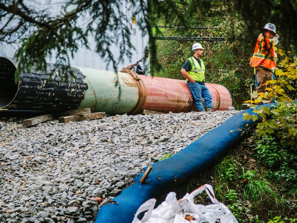 Pipeliners take a break from working on a right-of-way along the Mariner East 2 pipeline near the Union property of Jeff and Michelle Seaman on Oct. 3.