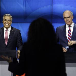 Sen.Bob Casey, a Democrat, and Republican challenger U.S. Rep. Lou Barletta prepare before their first debate on Saturday in the studio of WPVI-TV in Philadelphia.