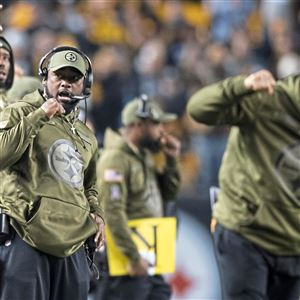 Steelers coach Mike Tomlin reacts after a field goal against the Carolina Panthers on Thursday, Nov. 8, 2018, at Heinz Field on the North Shore.