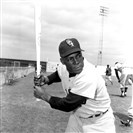 "Chicago White Sox outfielder Orestes ""Minnie"" Minoso poses in batting position at Al Lopez Field in Tampa, Fla."