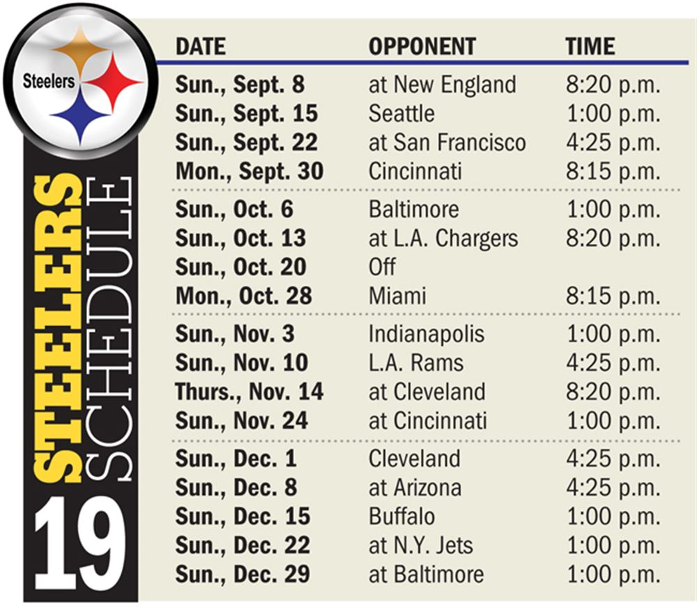 Steelers Schedule 2019 Tickets NFL 2019 schedule revealed: Steelers to face Patriots Week 1