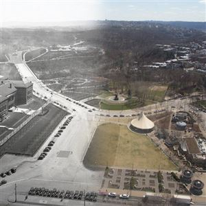 "Forbes Field and Schenley Park. ""It requires a woman every time to come forward with a public improvement in Pittsburgh,"" public works chief Edward Manning Bigelow told the Pittsburgh Daily Post in 1899."