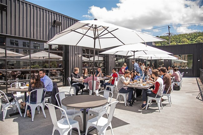 The second floor patio at Cinderlands Warehouse, a massive brewpub in the Strip District, opened May 7.