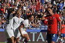 United States' Carli Lloyd, center, celebrates with teammates after scoring their side's third goal during the Women's World Cup Group F soccer match between United States and Chile at Parc des Princes in Paris, France, Sunday, June 16, 2019.