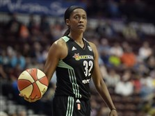 Swin Cash during the second half of a WNBA basketball game, Thursday, June 16, 2016, in Uncasville, Conn. New York won 80-72.