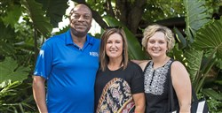 From left, Jesse McClean, Pressley Ridge executive director of Western Pennsylvania, Susanne Cole, president and CEO, and Jennifer Mulroney, secretary of the board of directors, at the Pressley Ridge Ice Cream Fundae on Sunday, Aug. 11, 2019, at the Pittsburgh Zoo & PPG Aquarium in Highland Park.
