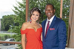 Elena LaQuatra and Andrew Stockey emcee the Cystic Fibrosis Foundation's 50 Finest event, Saturday, Aug. 17, 2019, at the Wyndham Grand Pittsburgh hotel, Downtown.