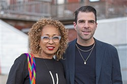 Special guests Actress Tamara Tunie with actor and film producer Zachary Quinto at THE BASH, City Theatre's newest fundraising event.