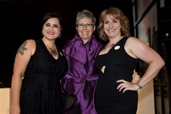 From left, Rachel Niederberger, Pittsburgh Glass Center development director, Kathleen Mulcahy, co-founder and Heather Heather McElwee, executive director.