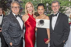 From left, Mark Flaherty and Mary McKinney Flaherty with event chairs Vivian and Bill Benter at the Pittsburgh Symphony Gala Concert: A Night in Black and White at Heinz Hall, Saturday, Sept. 14, 2019, Downtown.